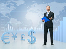 Young manager offers the best course of world currencies Stock Photography