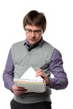 Young manager and papers Stock Image