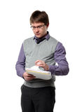 Young manager and papers Royalty Free Stock Photos