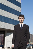 Young manager and skyscraper Stock Images