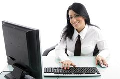 Young manager working on computer royalty free stock image