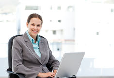 Young manager working on the laptop Royalty Free Stock Photo