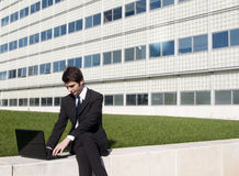 Young manager working outdoors Stock Photos