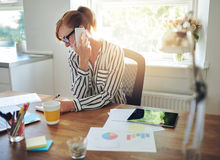 Young manageress working at her desk Stock Image
