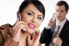 Young managers with mobile phone Stock Photography