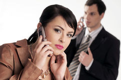 Young managers with mobile phone Stock Photos