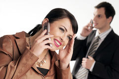 Young managers with mobile phone Royalty Free Stock Photography