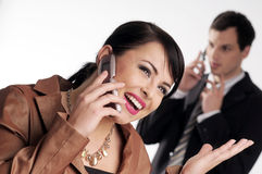 Young managers with mobile phone Royalty Free Stock Images