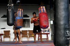 Young Mao Thai boxers in the training class Royalty Free Stock Photo