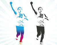 Young marathon runner. Silhouuette of young winning runner with hand up Royalty Free Stock Image