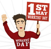 Young Marching and Protesting in Workers' Day, Vector Illustration. Young man holding a banner in a march commemorating Workers' Day in 1st May Royalty Free Stock Image