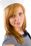 Young marine woman fashion portrait sailor hat Royalty Free Stock Image