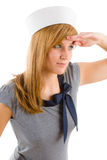 Young marine woman saluting navy outfit. Fashion portrait Stock Photo