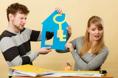 Young marriage arguing about first house buying. Royalty Free Stock Photo