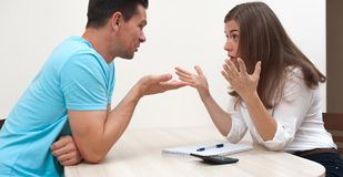 Young married couple is arguing royalty free stock photography