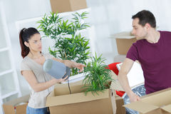 Young married couple arguing during unpacking in new house Stock Image