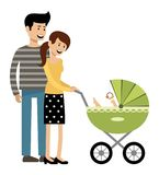 Young married couple with a carriage. Vector illustration Stock Photography