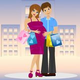 Young married couple in expectant of child with purchase Stock Images