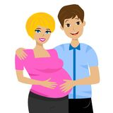 Young married couple in expectant of child on white background Stock Photos