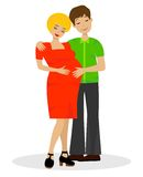 Young married couple in expectant of child on white background Stock Photography