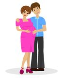 Young married couple in expectant of child on white background Royalty Free Stock Images