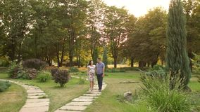 Pregnant woman and her husband are walking in park stock footage