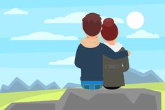 Young couple sitting on stone rock and enjoying beautiful nature landscape with mountains. Outdoor recreation. Back view. Young married couple hugging sitting on stock illustration