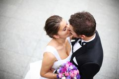 Young married couple kiss Stock Image