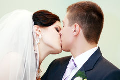 Young married couple kissing Royalty Free Stock Photos