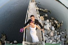 Young married couple and the sea view Royalty Free Stock Photography