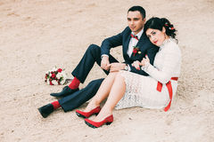 Young married couple sitting on sand Stock Image