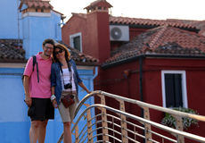Young married couple visiting the island of Burano near Venice Stock Images
