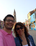 Young married couple visiting the island of Burano near Venice Stock Image
