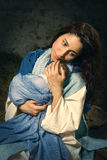 Young Mary in christmas nativity scene Stock Photography