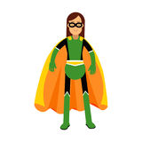 Young masked brunette woman in a colorful superhero costume  Illustration. Isolated on a white background Stock Photo