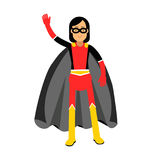 Young masked brunette woman in a superhero costume waving her hand  Illustration. Isolated on a white background Royalty Free Stock Images