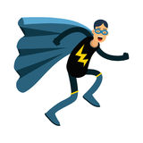 Young masked man in a superhero costume and blue cape running  Illustration Stock Photography