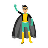 Young masked man in a superhero costume waving his hand  Illustration Royalty Free Stock Images
