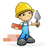 Young mason with trowel. Vector illustration of a young mason with trowel Stock Photography