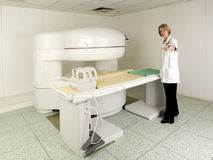 Young MD in MRI Scanner room Stock Images