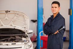 Young mechanic at an auto shop Stock Photo