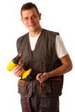 Young mechanic isolated over white background Royalty Free Stock Photos