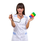 Young medic pediatrician with toys Royalty Free Stock Photo