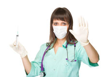 Young medical doctor or nurse making stop sign Royalty Free Stock Photo