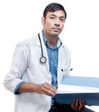 Young Medical Doctor with Patient Record Stock Photo