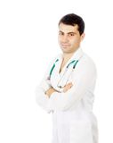Young medical doctor with stethoscope. Isolated over white background royalty free stock image