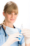 Young medical nurse doctor female hold injection Royalty Free Stock Photos