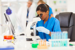 Young medical researcher. Young indian medical researcher looking through microscope in laboratory Royalty Free Stock Image