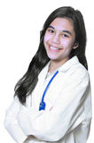 Young medical student. Young female medical student in white lab coat Stock Image