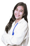 Young medical student. Young female medical student in white lab coat royalty free stock images